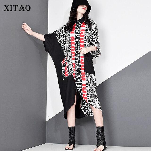XITAO Flut Plus Größe Brief Druck Casual Kleid Hit Farbe Frauen Kleidung 2020 Sommer Neue Drehen Unten Kragen Elegante Kleid DMY5036