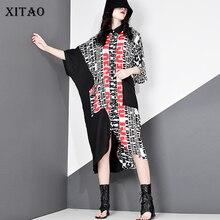 Elegant Dress Women Clothes Plus-Size XITAO Hit-Color Print Summer Letter DMY5036 Collar