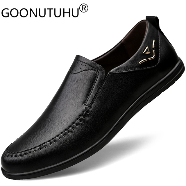 2020 mens dress shoes slip on genuine leather cow classic black or brown office shoe man plain formal shoes for men big size 12