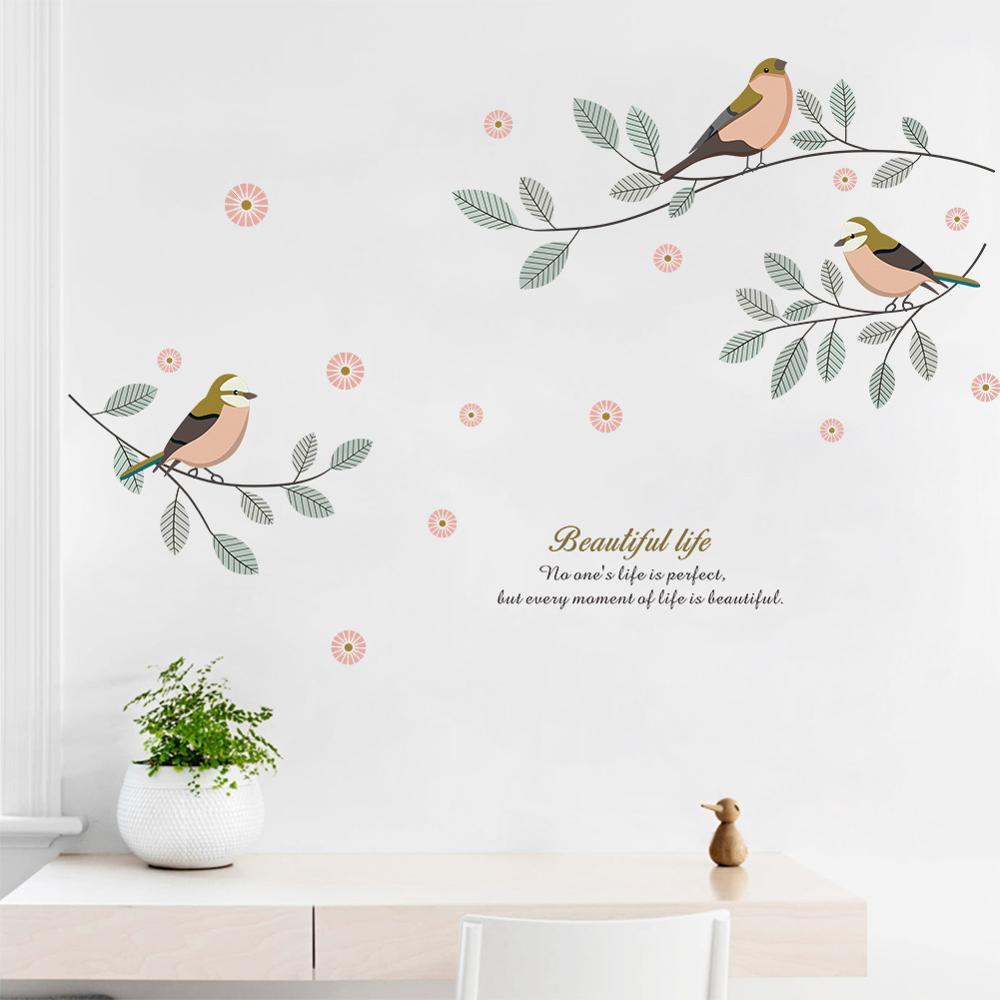 Pegatina de pared de Arte de pájaro en rama para decoración del hogar, calcomanías autoadhesivas de papel tapiz para sala de estar y dormitorio