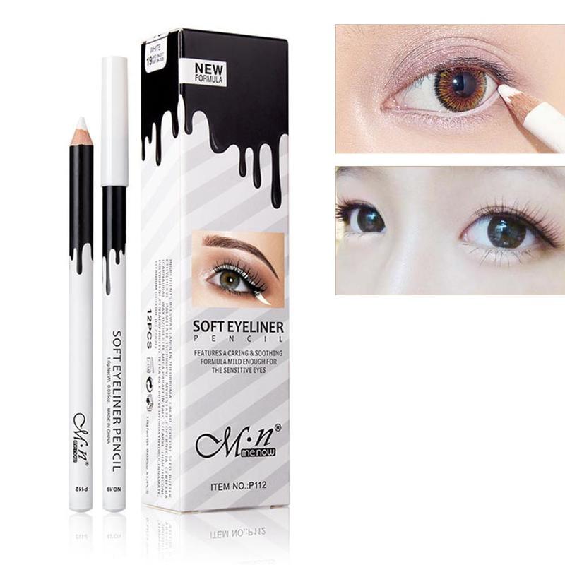 White Color Eyeliner Wooden Eyeliner Pencil Makeup Smooth Brighten Eyeliner Pen Waterproof Lasting White Eyes Liner Pen Cosmetic