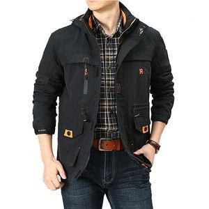 Image 4 - Nowa kurtka Bomber mężczyźni jesień zima multi pocket wodoodporna kurtka taktyczna wojskowa czapka wiatrówka mężczyzna płaszcz odkryty z kapturem