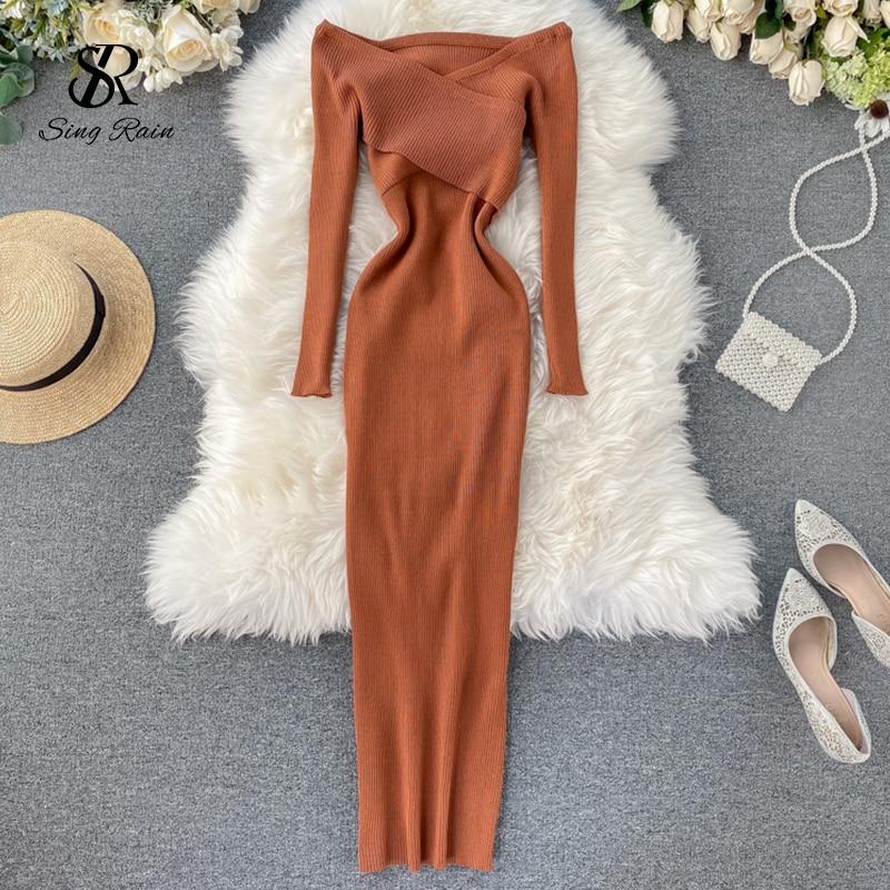 Трикотажное платье SINGRAIN с воротником лодочкой, женское сексуальное эластичное теплое платье с открытыми плечами, модное облегающее платье свитер на осень и зиму|Платья| | АлиЭкспресс