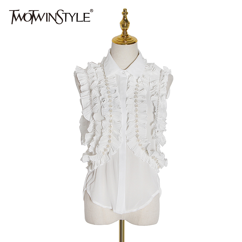 TWOTWINSTYLE Casual Ruffles Blouse Women Lapel Collar Off Shoulder Sleeveless Patchwork Pearl Ladies Shirt Fashion 2020 Clothing