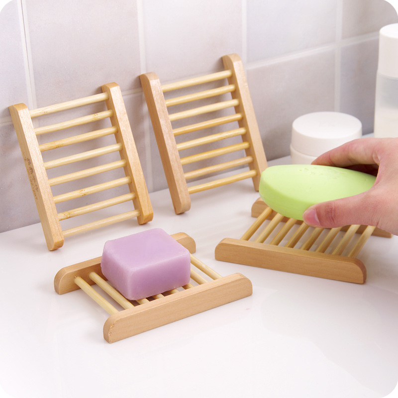 Non Slip High Quality Soap Wooden Storage Rack Portable Bamboo Wooden Soap Dish Shower Case Holder Container Storage Box