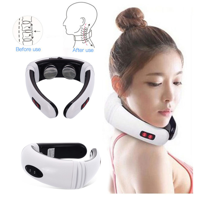 Electric Pulse Back and Neck Massager Far Infrared Heating Pain Relief Tool Health Care Relaxation Intelligent Cervical Massager 1
