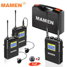 MAMEN Professional Wireless Microphone UHF Dual Channel Super HD 530-590MHz Recording Microphone 60-100m Reception Distance