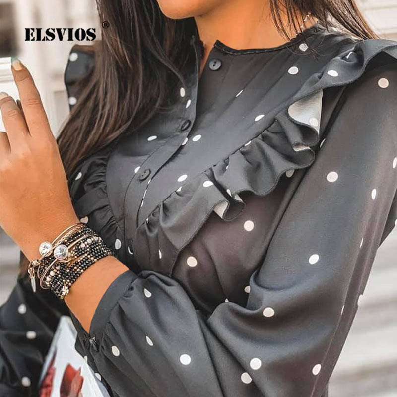 Lady Autumn Long Sleeve Polka Dot Ruffle Blouse Shirt Elegant Casual O Neck Buttons Pullover Women 2020 Spring Streetwear Tops