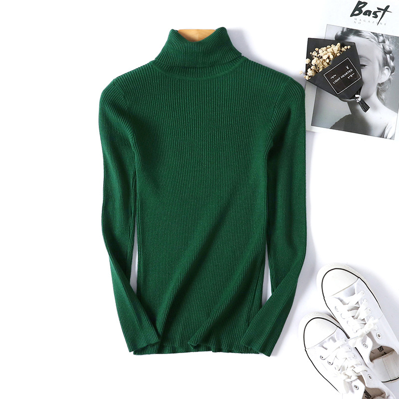2020 AUTUMN Winter women Knitted Turtleneck Sweater Casual Soft polo-neck Jumper Fashion Slim Femme Elasticity Pullovers 8