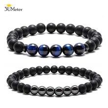 Black Matte Onyx Prayer Beads Bracelet Blue Tiger Eye Stone for Men Women Elastic Natural Hematite