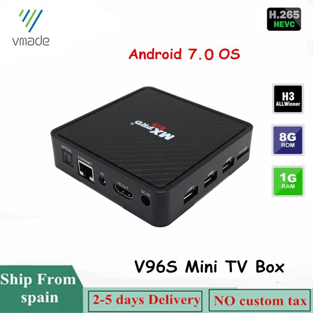2019 Vmade V96S Android 7.0 Mini TV BOX Allwinner-H3 Quad-core Cortex-A7 CPU 1.0GHz 1GB 8GB Supports H.265/HEVC 4K Smart TV Box