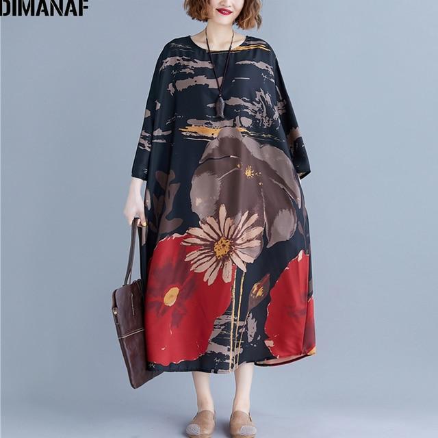 DIMANAF Plus Size Women Dress Print Autumn Vintage Vestidos Chinese Style Elegant Female Lady Long Sleeve Oversize Loose Dress 1