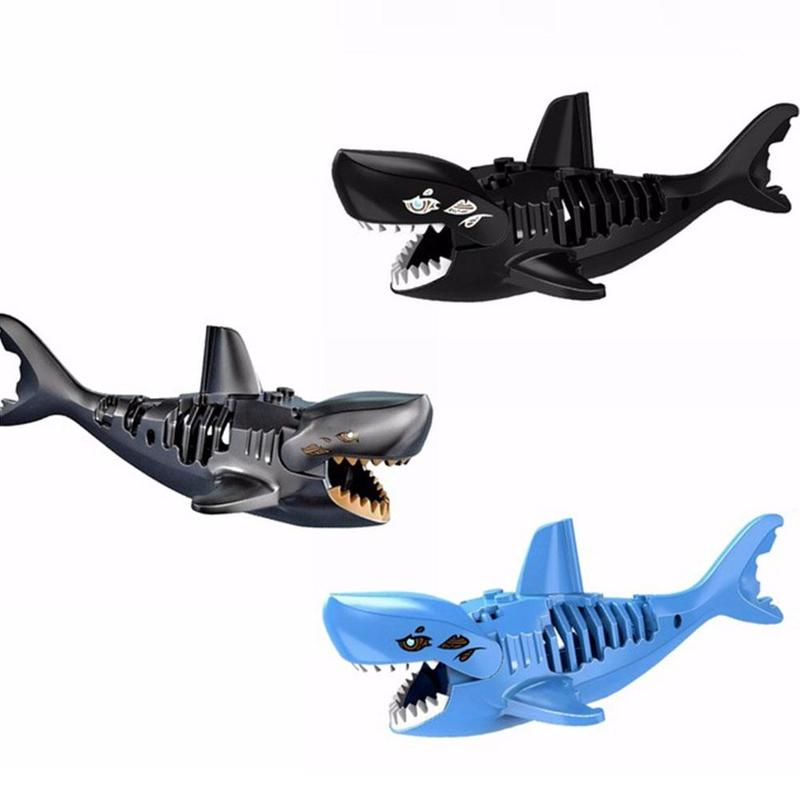 Building Blocks 3D Shark Assembled Toys Ghost Zombie Shark Jack Sparrow Pirates Of The Caribbean Hulk Legoings Toys For Child