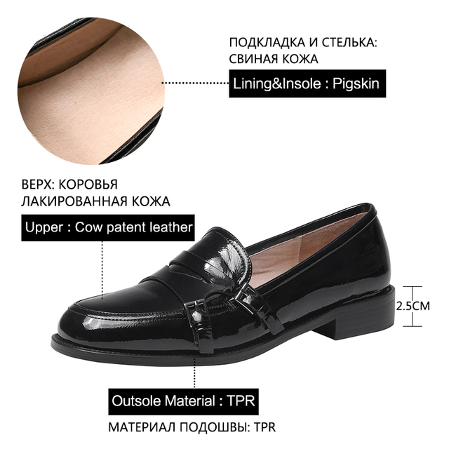 Donna in Buckle Women Loafers Casual Spring Concise Genuine Leather Ladies Flat Shoes Low Heels