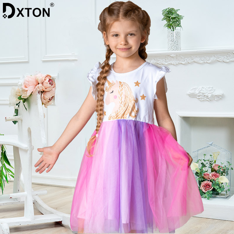 DXTON Unicorn Summer Girls Dress Flare Sleeve Kids Tutu Dress Patchwork Girls Party Vestidos Rainbow Cartoon Children Dress 3-8Y