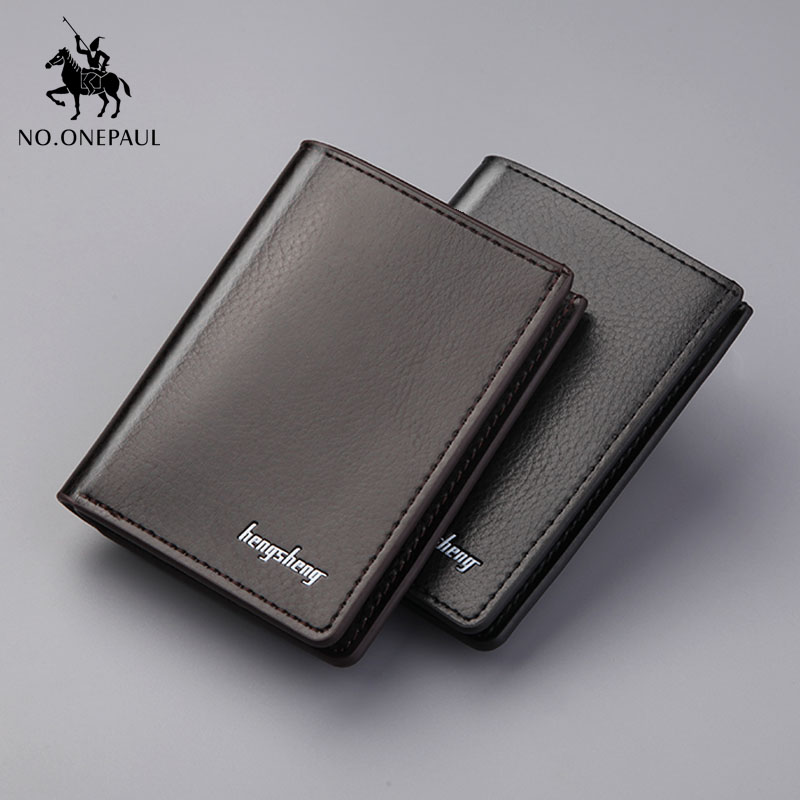 NO.ONEPAUL Genuine Leather Men's Short Wallets Credit Card Holder Luxury Retro Brand Slim Solid Purses Business Purses Male