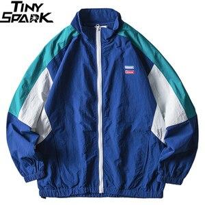 Image 3 - Mens Jacket Hip Hop Streetwear Retro Color Block Patchwork Windbreaker Jacket Autumn 2019 Casual Zipper Track Jacket Coat HipHop