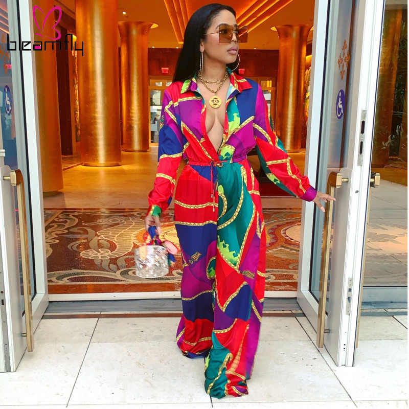 Autumn Winter Women Jumpsuits Turn-down Collar Full Sleeve Chain Print Rompers Sexy Night Club Party One Piece Overalls Jumpsuit