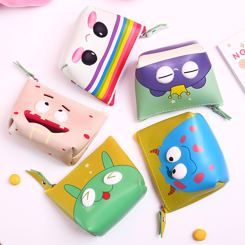 0308 Manufacturers Direct Selling South Korea Cute Purse Adorable Eyes Stereo Carrying Coin Bag Women's Waterproof Storage Coin