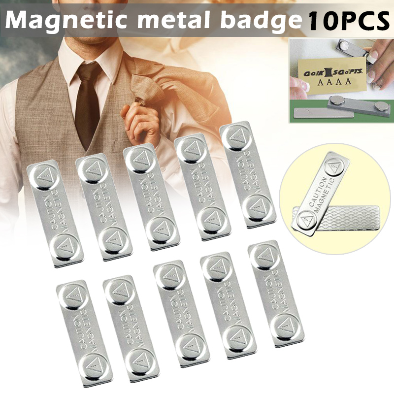 10pcs Strong Magnetic Name Tags Badge Metal Fastener ID Card Durable Attachment Holder OUJ99