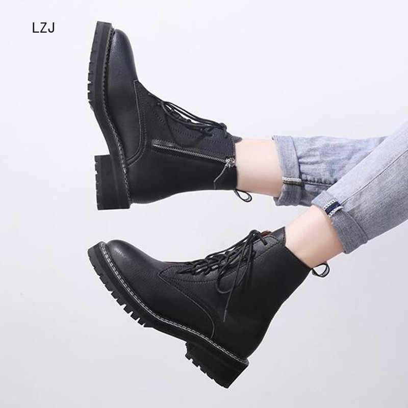 LZJ 2019 Herfst Winter Nieuwe vrouwen Mode Enkellaars Vrouwen Platte Schoenen Comfortabele slijtvaste Waterdichte Warm Enkel laarzen