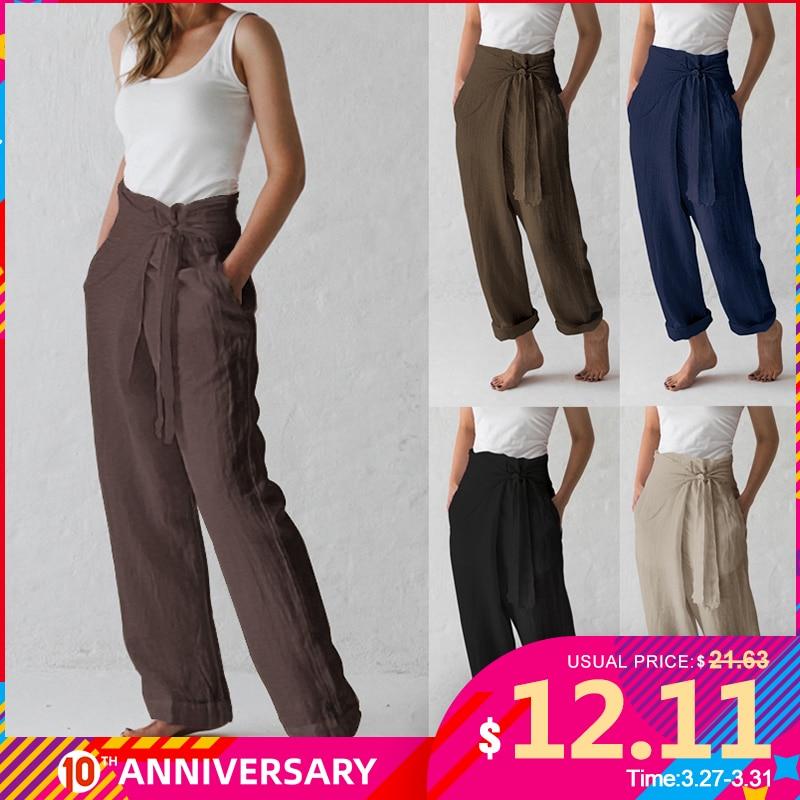 Celmia 2020 Summer Vintage Wide Leg Trousers Women High Waist Loose Lace Up Causal Linen Harem Pants Pantalon Palazzo Plus Size