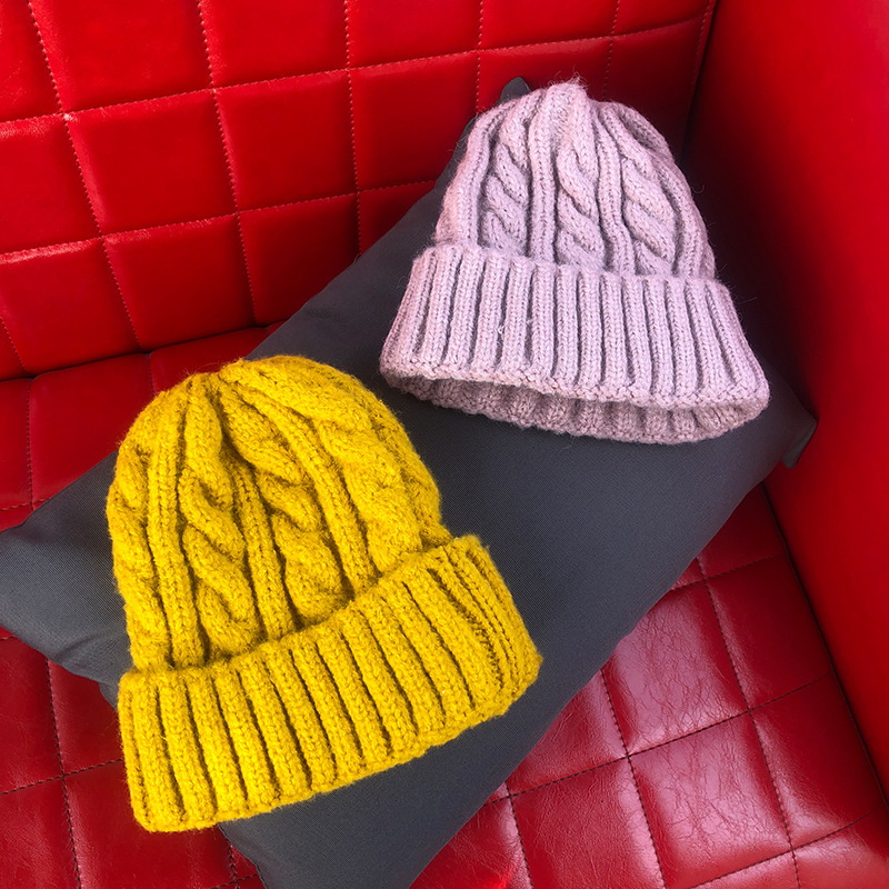 2019 Solid Color Twist Woman Knit Hat Autumn And Winter Warm Cotton Hat Innocent Cap Ladies Cotton Outdoor Casual Beanie Hat