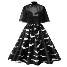 Black Halloween Bat Print Dress Plus Size Women Vintage Party Prom Dress Doll Collar Perspective Housewife Dresses 4XL#F(China)