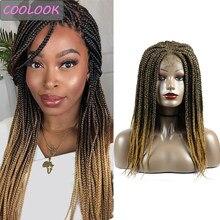 Perruque frontale à dentelle synthétique tressée pour femmes Afro, cheveux bruns ombrés, Fiber résistante à la chaleur, 4x4