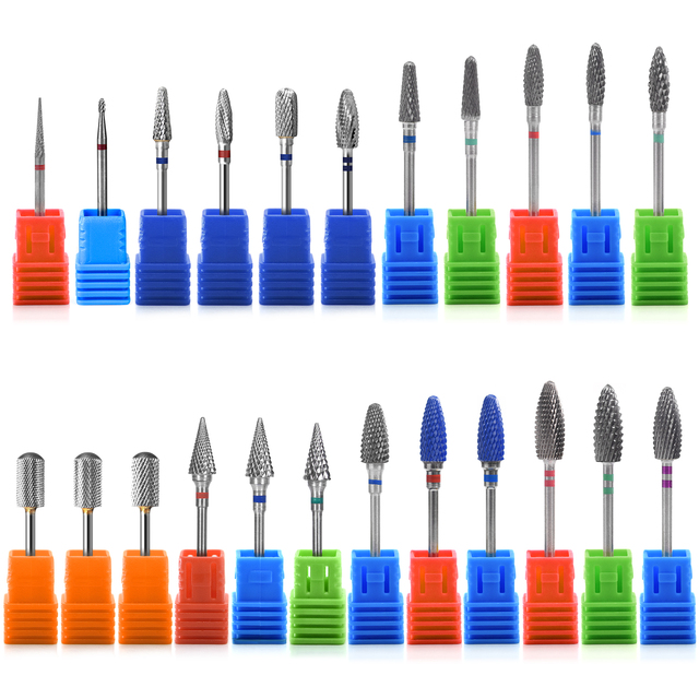 KADS Carbide Milling Cutter Burrs Tungsten Nail Drill Bits Electric Manicure Drill Machine Accessories Rotary Nail Art Tool