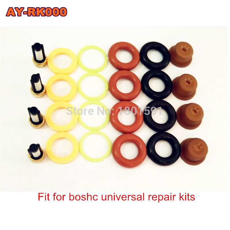 4 세트 연료 인젝터 수리 키트/bosch universal 용 인젝터 부품 마이크로 필터 oring 플라스틱 가스켓 핀틀 캡 포함