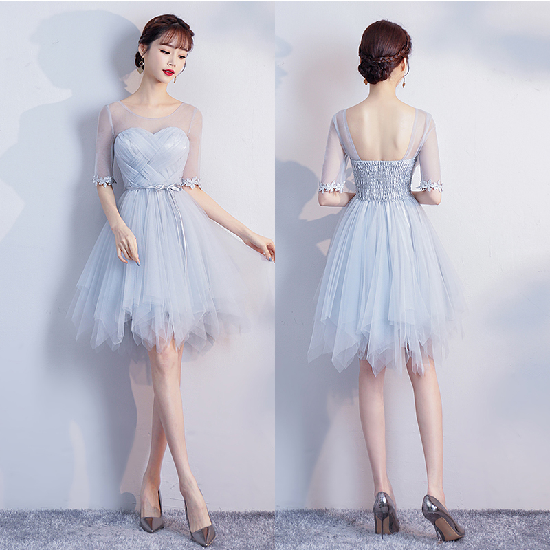 Blue Gray Bridesmaid Dress Short Tulle Criss-Cross Ball Gown Graduation Wedding Party Dress Elegant Sexy Prom Elastic Band Dress