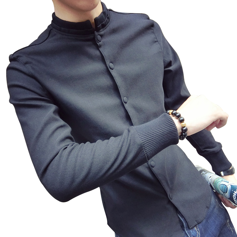 Shirt Autumn New Men's Fashion Stand Collar Press Buckle To Wear Outside Shirt Men's Slim Solid Color Cotton Long-sleeved Shirt