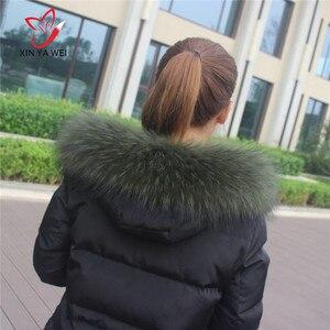 Image 2 - Spezielle Price100 % Natürliche Winter Pelz Jacken Echt Kragen Waschbären Pelz Frauen Schals Mantel Frau Neck Cap Lange Warme Echte schal