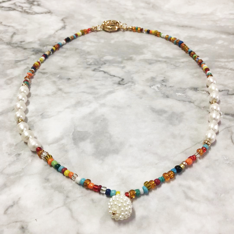Original Natural Freshwater Pearls With Mixed Color Bead Hand String Edited Necklace New Listing