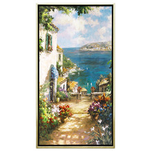 Youran DIY 100% Whole Picture Pasted Beads Diamond Painting Mediterranean Style Seaside Scenery Mosaic Craft Kits For Home Decor