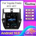 Автомобильный мультимедийный плеер Kaudiony, автомобильный радиоприемник 10,4 дюйма на Android 10,0 для Toyota Prado, GPS-навигация, стерео DSP 4G 2010-2017