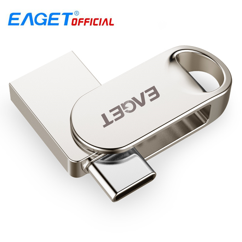 EAGET CU30 16GB/32GB/64GB/128GB Metal USB 3.0/Type-C Flash Drive Memory Storage  Stick OTG Type C Pen Drive Mini U Disk For PC