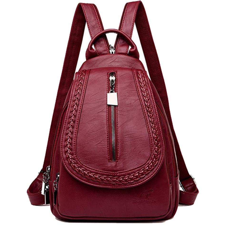 Women Leather Backpack Ladies Bagpack Travel Female Back Pack Girl dark blue backpacks