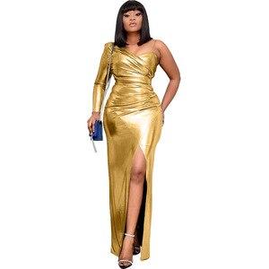 Image 5 - فساتين أفريقية للنساء الجديدة الأكثر مبيعًا ملونة البرنز نساء حفلة فستان طويل الخامس الرقبة فتاة أصغر فستان طويل