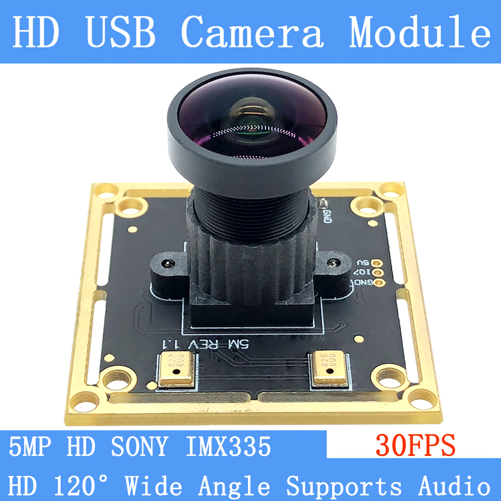 USB2.0 pure physical 170° wide angle CCTV Camera HD 500W SONY IMX335 OTG UVC Webcam 30FPS USB camera module support audio Linux