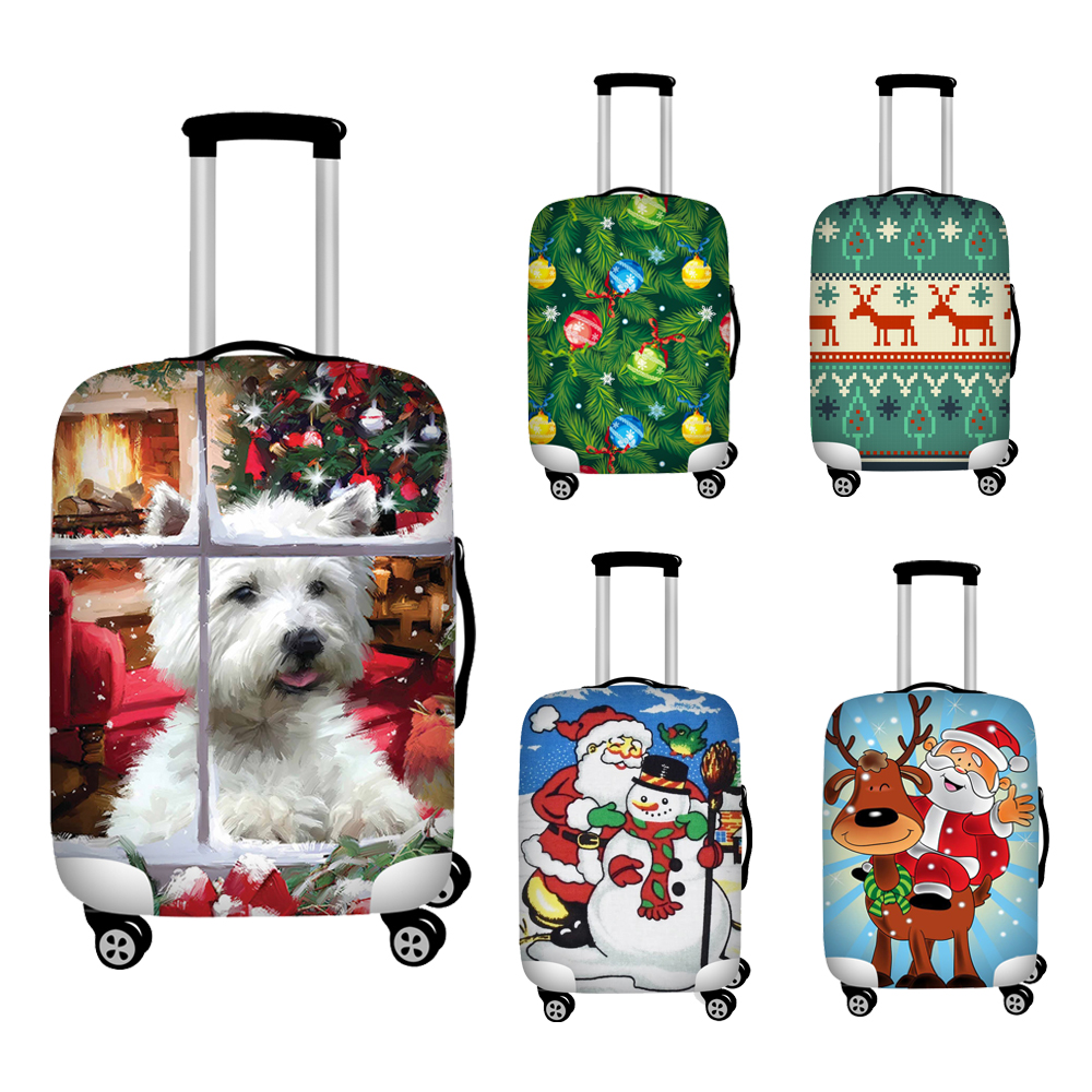 Nopersonality Christmas Travel Accessories Luggage Cover Suitcase Protection Baggage Dust Cover Stretch Luggage Zipper Closure
