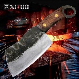 Image 5 - XITUO cuchillo de Chef japonés de alta forja de acero revestido de carbono, cuchillo de Chef Santoku, cuchillo antiadherente Nakiri Cleaver Gyuto Kiritsuke