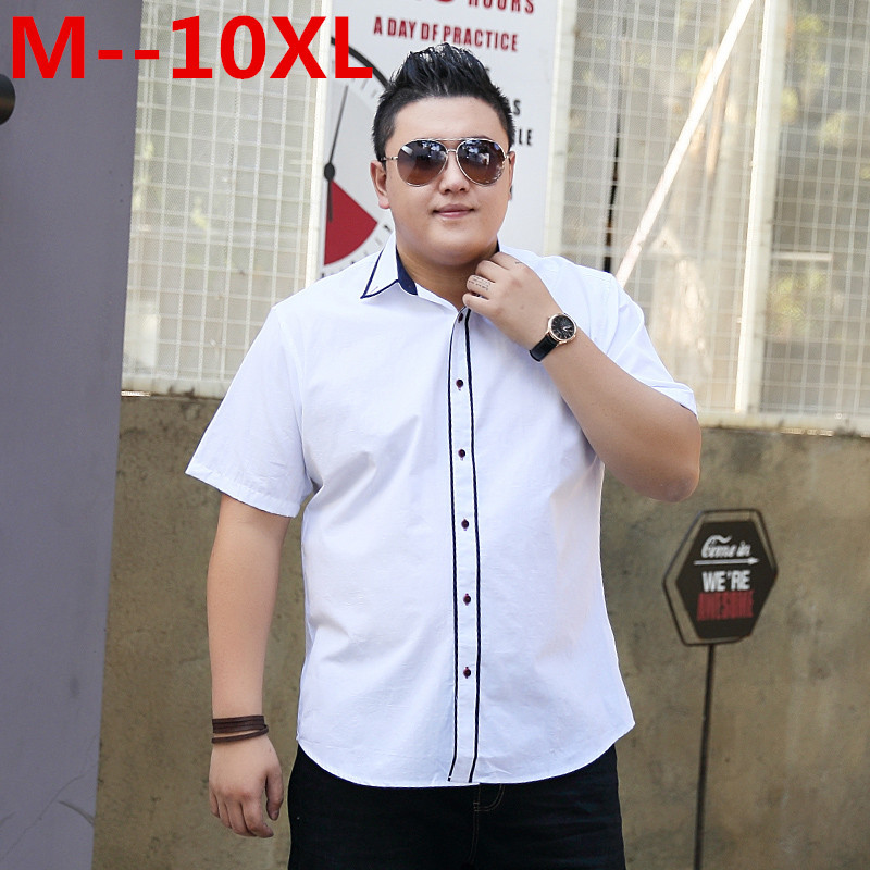 10XL 8XL 6XL 5XL Cotton Mens Dress Short Sleeve Shirts Fashion Casual Loose Fit Solid Men Shirts Brand Clothing Chemise Homme