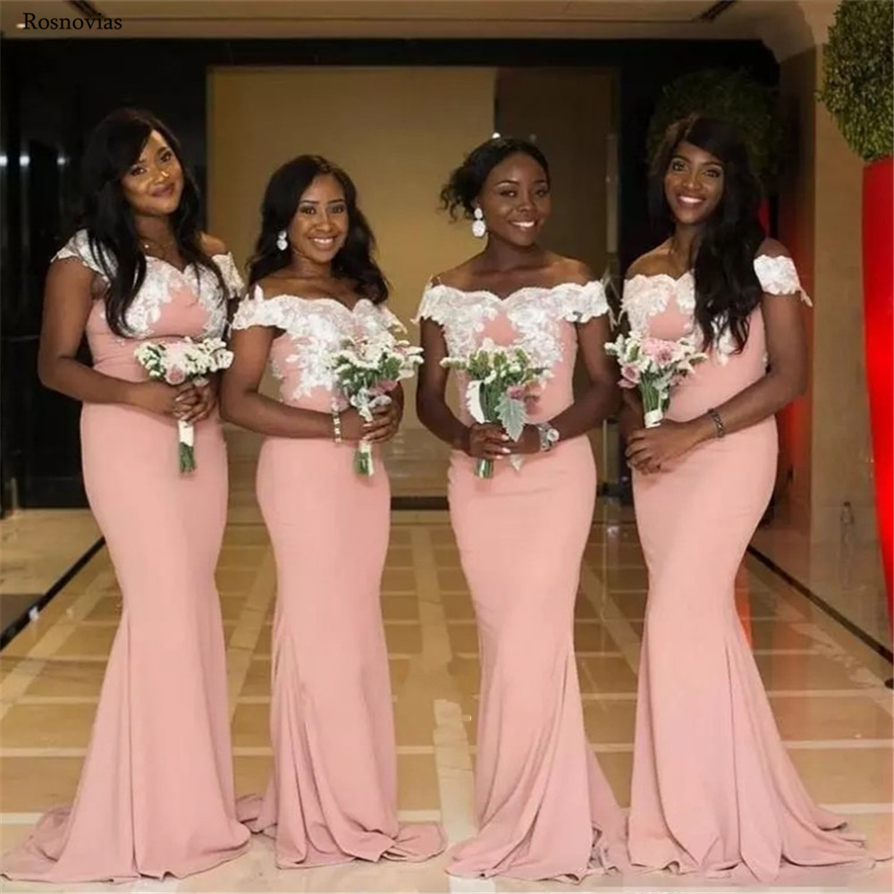 Africa Blush Pink Mermaid   Bridesmaid     Dresses   2019 Off Shoulder Sweep Train Lace Appliques Prom Maid Of Honor Gowns Plus Size