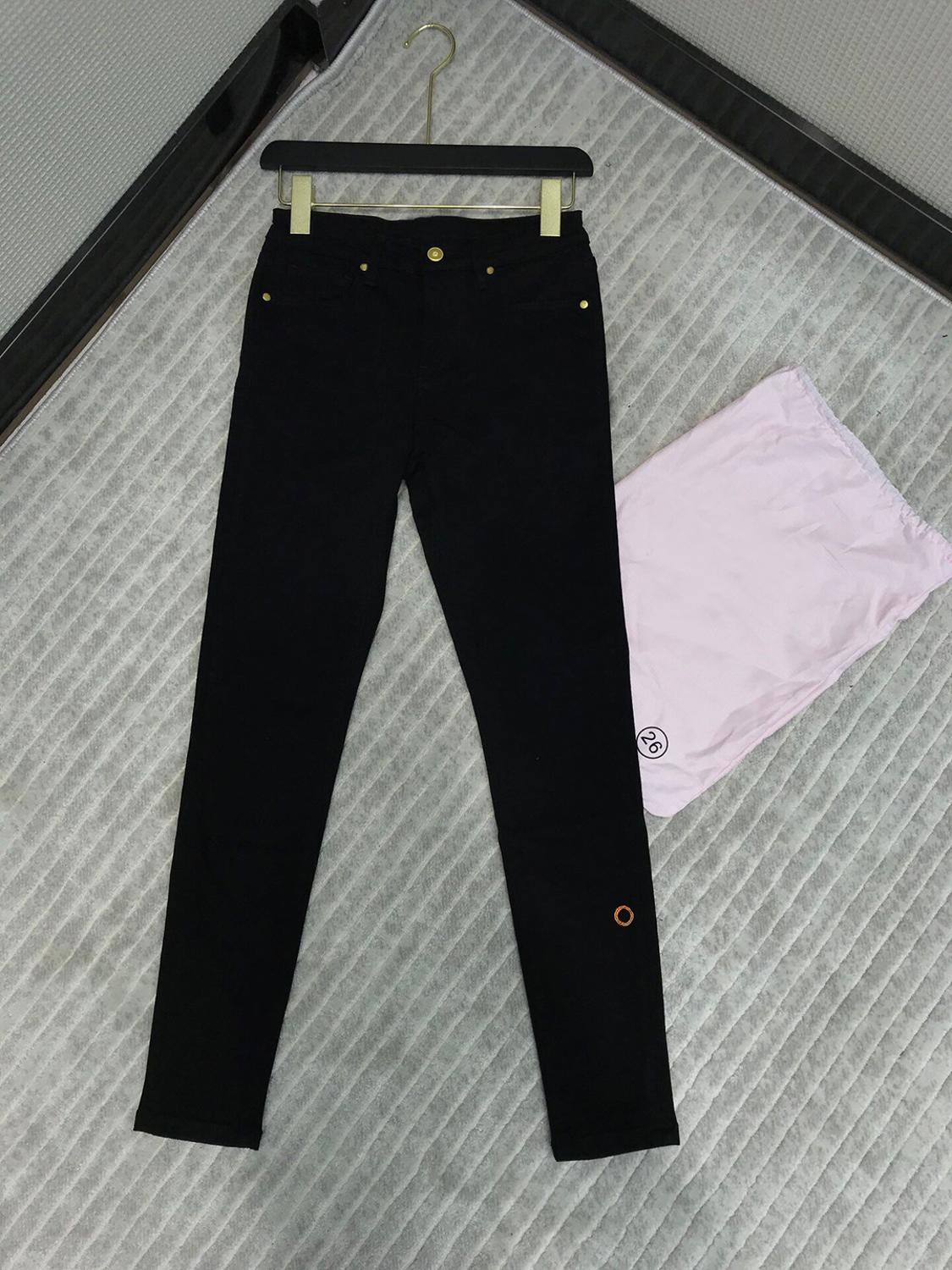 Pencil Jeans Trousers Embroidery Skinny Black High-Waist Cotton Fashion Women Runway