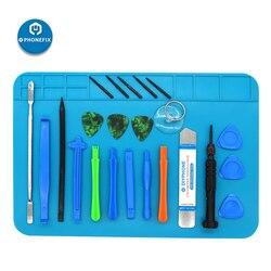 PHONEFIX 19 w 1 zestaw śrubokrętów precyzyjnych zestaw narzędzi do naprawy otwierania dla iPhone iPad PC narzędzia do demontażu z matą antystatyczną w Zestawy narzędzi ręcznych od Narzędzia na