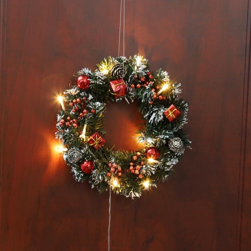 Christmas Xmas Home Decorative Wreath LED Door Hanging Garland Wall Door Garland With String Light Christmas Home Decoration
