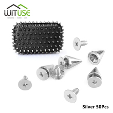 Garment Rivets Spikes Studs Screwback Craft Silver-Cone Punk DIY 10mm And for 10/20/50/100pcs
