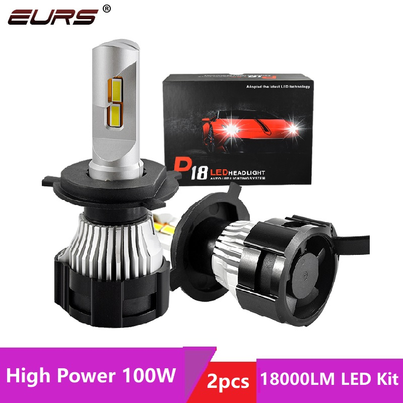 Светодиодсветильник лампы для автомобиля EURS P18, светодиодсветодиодный лампы H4 H11 H13 H7 HB4 HB3, лампы для фонарей головного света H16 5202 P13W 100W 18000LM